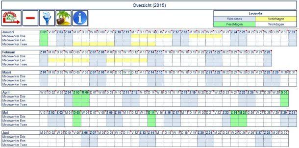 Excel producten Vakantieplanning