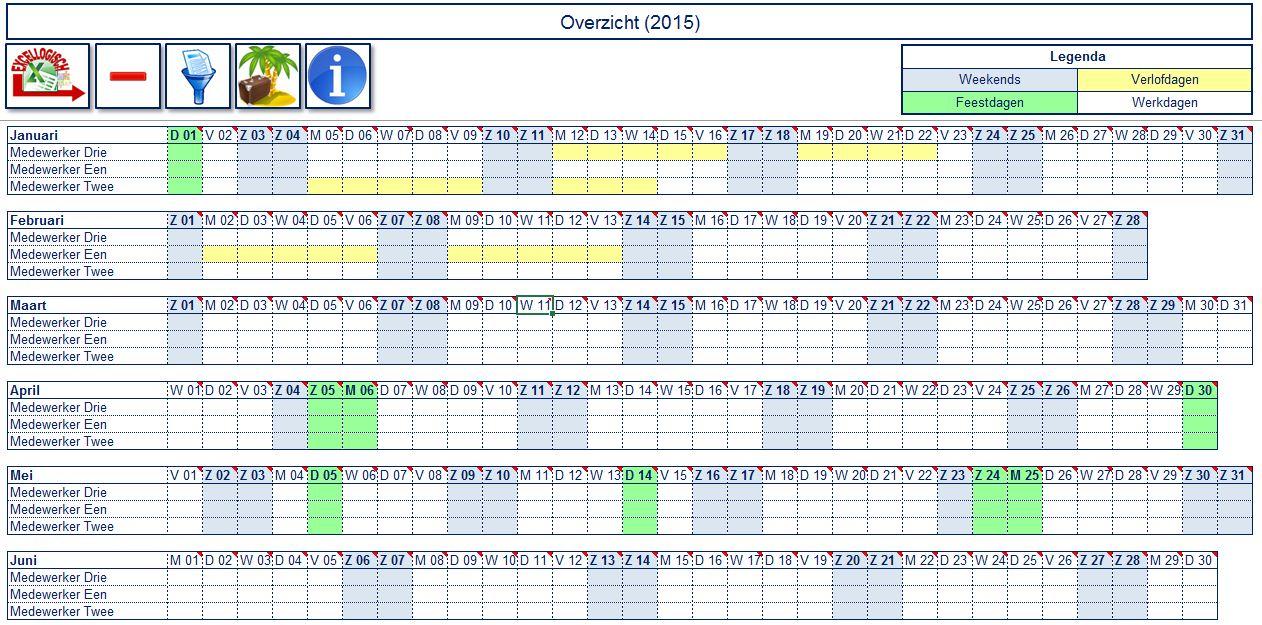 Excel vakantieplanning en verlof registratie Tool